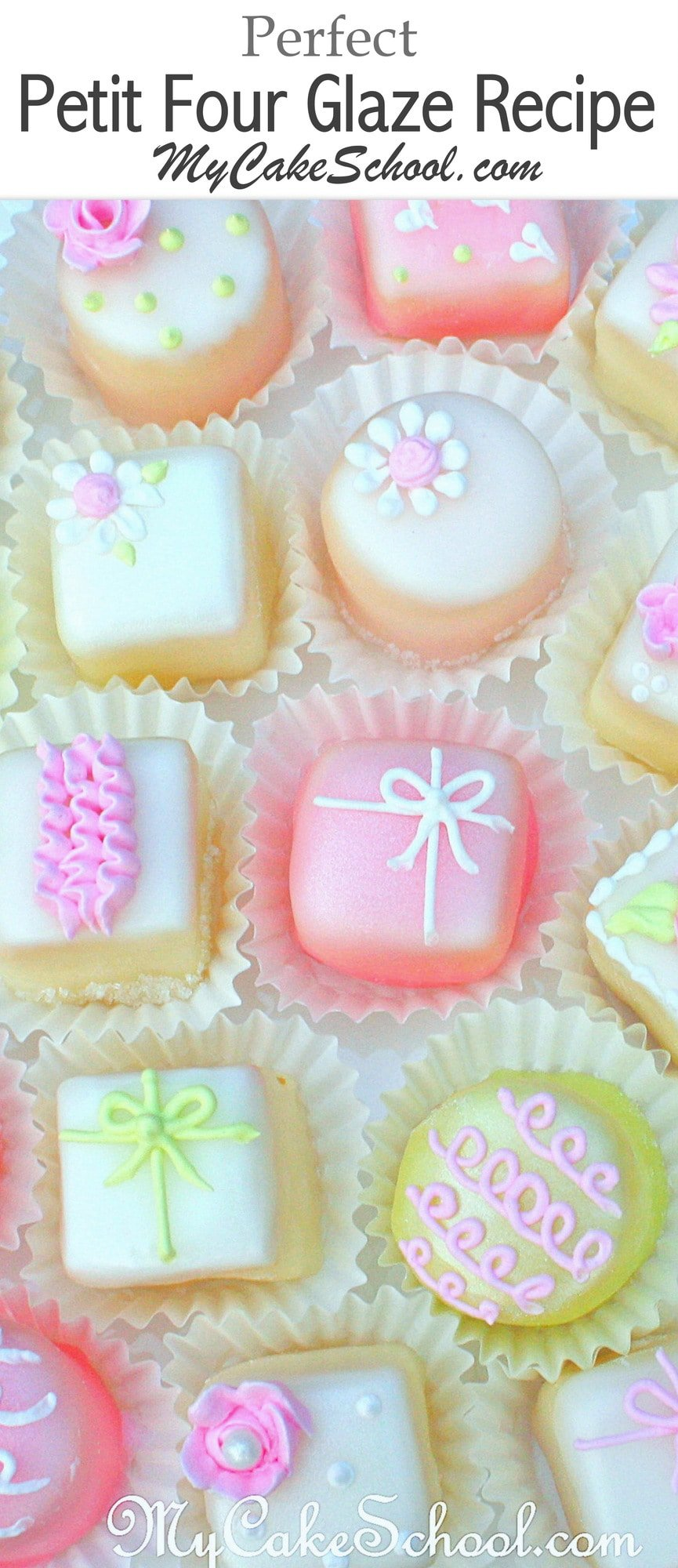 We LOVE this classic Petit Four Glaze Recipe! So simple to make and easy to work with! MyCakeSchool.com