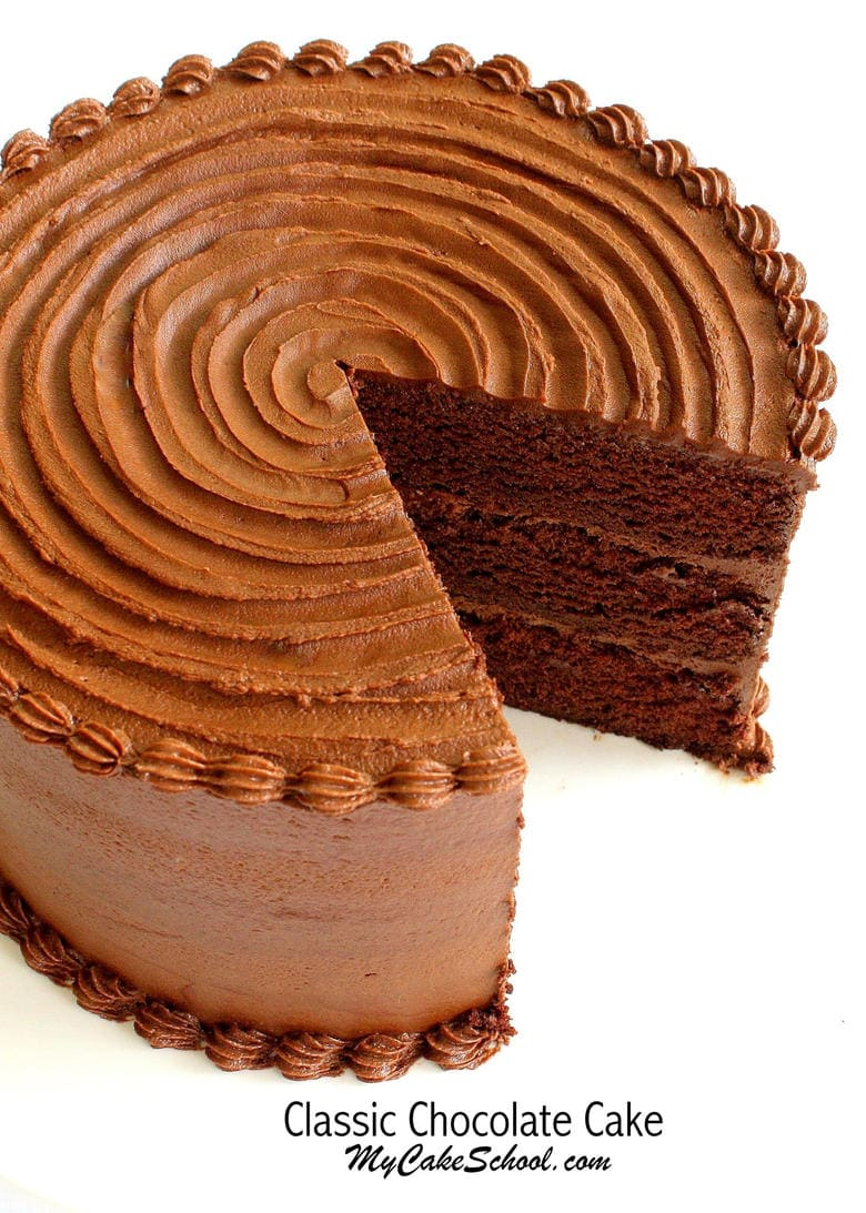 The BEST Classic Chocolate Cake Recipe from Scratch! MyCakeSchool.com. So decadent, moist, and delicious!
