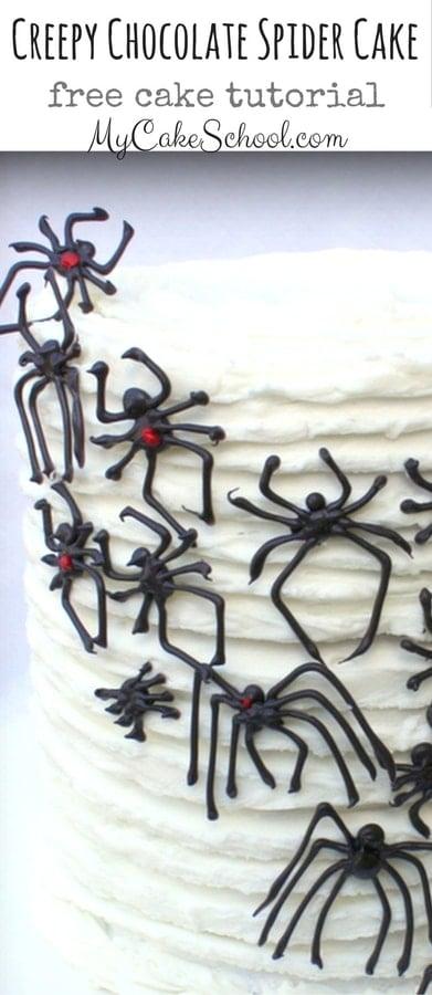 Creepy Chocolate Spider Cake- A free step by step Halloween Cake Tutorial by MyCakeSchool.com!