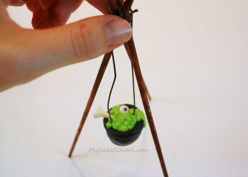 Fun Cauldron Cake Topper Tutorial by MyCakeSchool.com!