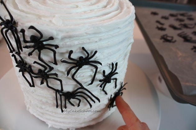 Learn how to make creepy chocolate spiders for your Halloween cakes and cupcakes in this free step by step cake tutorial by MyCakeSchool.com!