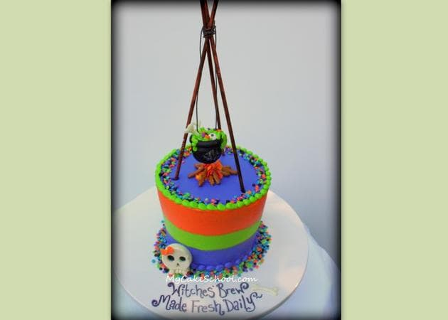 Free Witches Cauldron Cake Topper Tutorial by MyCakeSchool.com!