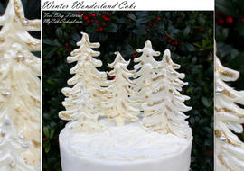 Gorgeous Winter Wonderland Cake Tutorial featuring White Chocolate Trees!