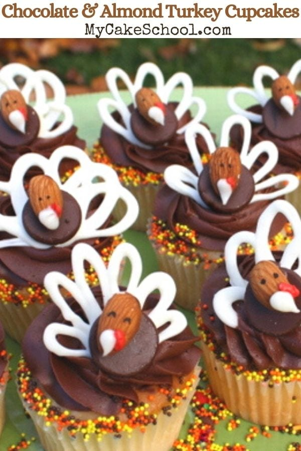 Chocolate and Almond Turkey Cupcake Tutorial- These CUTE and easy Turkey Cupcakes are so cute for Thanksgiving celebrations! Learn how to make them in our free step by step cupcake tutorial!