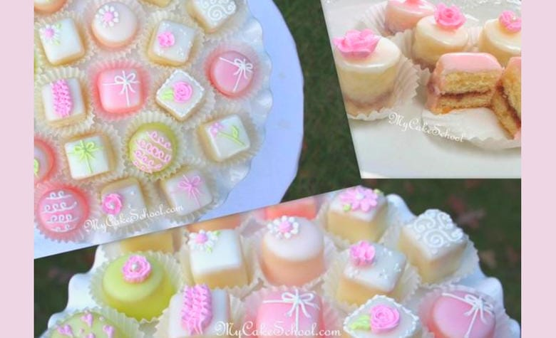 Beautiful Petit Fours by MyCakeSchool.com