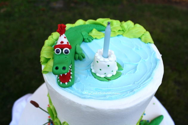 Alligator Swamp Party Cake! Learn to model CUTE alligators in this free cake decorating tutorial by MyCakeSchool.com!