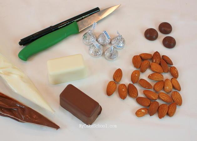 CUTE chocolate and almond turkey cupcake tutorial by MyCakeSchool.com!