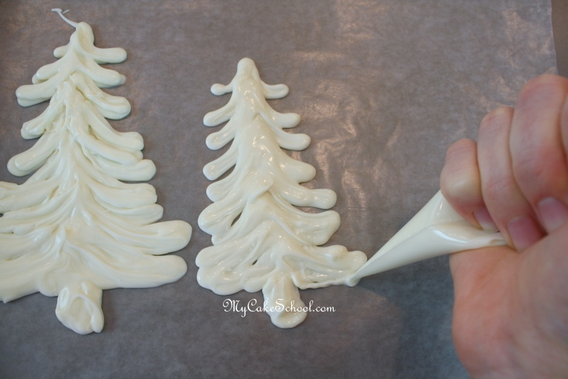 Gorgeous Winter Wonderland Free Cake Tutorial by MyCakeSchool.com! Learn to Make Elegant and easy Chocolate Tree Toppers!