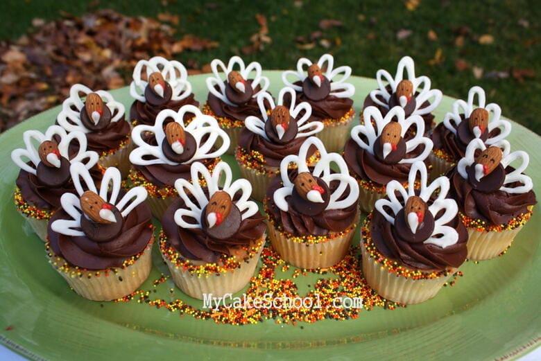 Easy, delicious Chocolate Almond Turkey Cupcakes