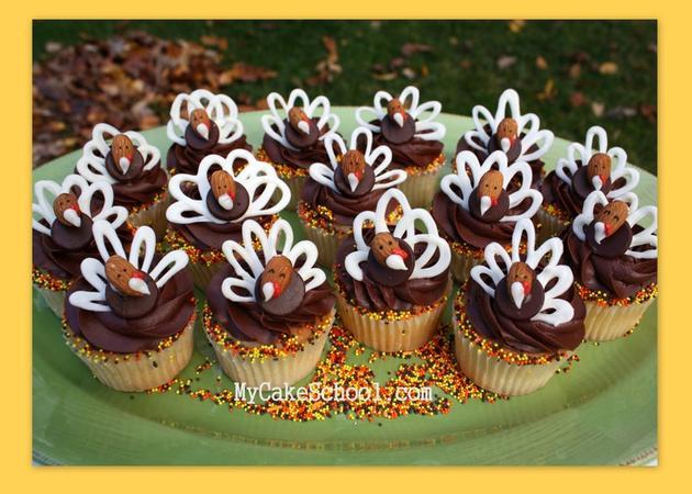 CUTE chocolate and almond turkey cupcake toppers by MyCakeSchool.com- Free tutorial!
