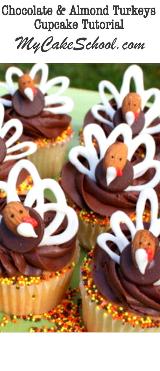 Adorable Thanksgiving chocolate and almond turkey cupcake tutorial by MyCakeSchool.com!
