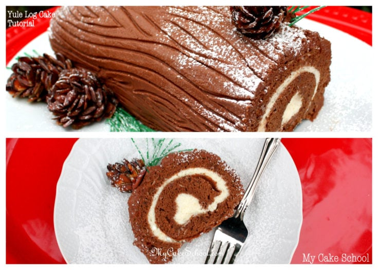Learn to make a gorgeous Yule Log Cake from a simple Chocolate Cake Roll in this My Cake School video tutorial!