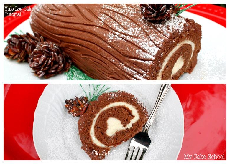 Beautiful Yule Log Cake Tutorial by My Cake School! {member video library}