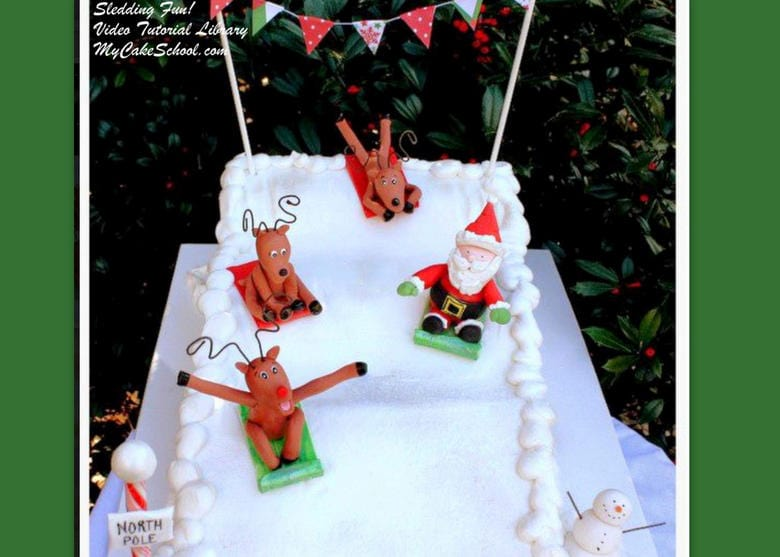 Sledding into Christmas Video- A Cake Video Tutorial