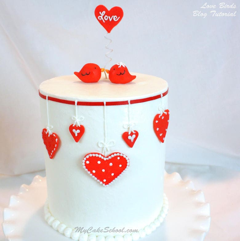 Sweet Love Birds Valentine's Day Cake! Free Tutorial by MyCakeSchool.com!