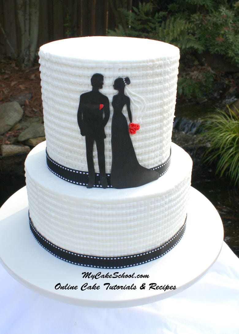 Bride And Groom Silhouette Cake Amp Textured Buttercream