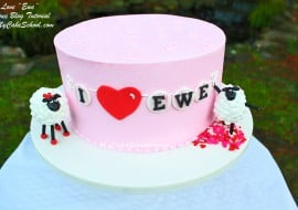 I Love Ewe! Adorable Valentine's Day Cake Tutorial featuring Sheep Cake Toppers! Free tutorial by MyCakeSchool.com!