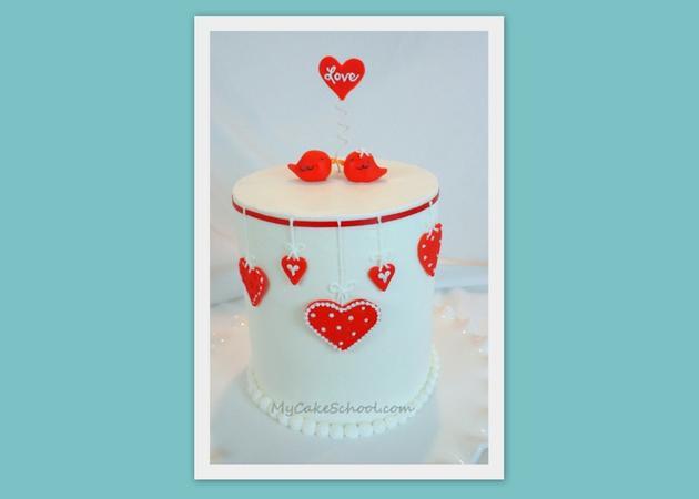 The CUTEST Valentine's Day Cake Tutorial with a Love Birds theme! MyCakeSchool.com