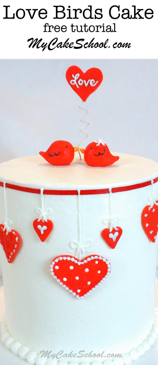 The cutest Love Birds themed Valentine's Day Cake Tutorial by My Cake School!