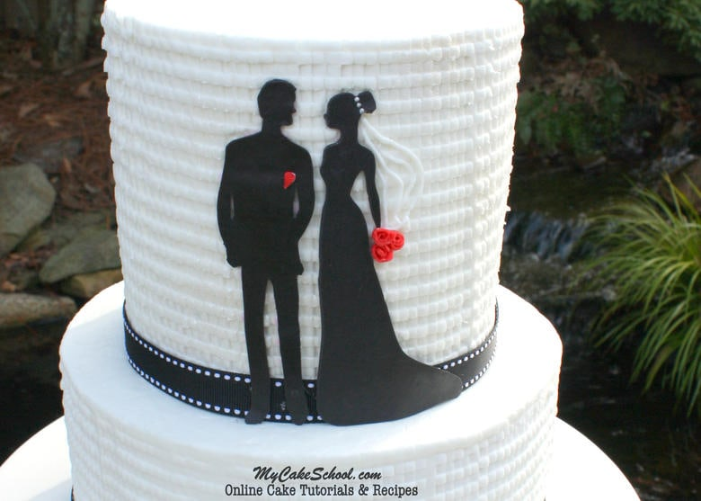 Beautiful Bride and Groom Silhouette Cake with textured buttercream. Cake tutorial by MyCakeSchool.com!