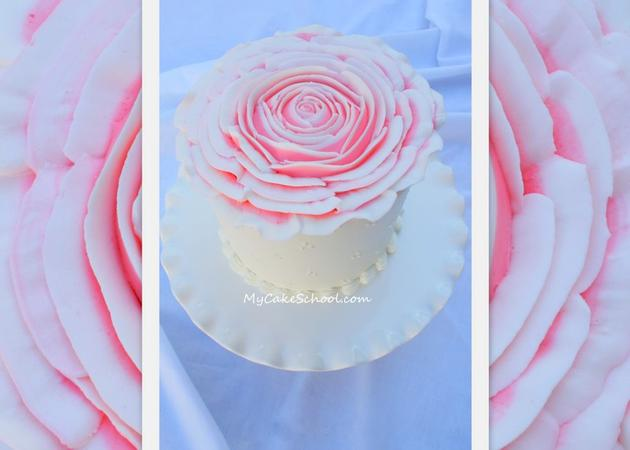 Learn to pipe an huge, elegant rose over the top of your cake in this My Cake School piping tutorial!
