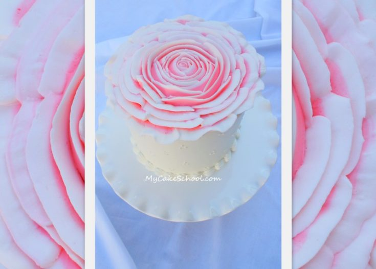 How to Pipe a BIG Buttercream Rose- Cake Video