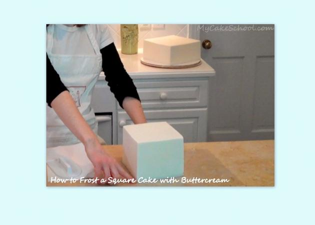 Learn How to Frost a Square Cake with Buttercream! Member cake video tutorial by MyCakeSchool.com!