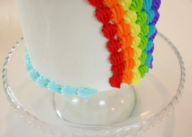 Beautiful Buttercream Rainbow Cake Tutorial by MyCakeSchool.com! So cheerful and perfect for both year-round birthdays and St. Patrick's Day gatherings!