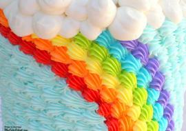 Buttercream Rainbow Cake Tutorial by MyCakeSchool.com! Free cake tutorial!