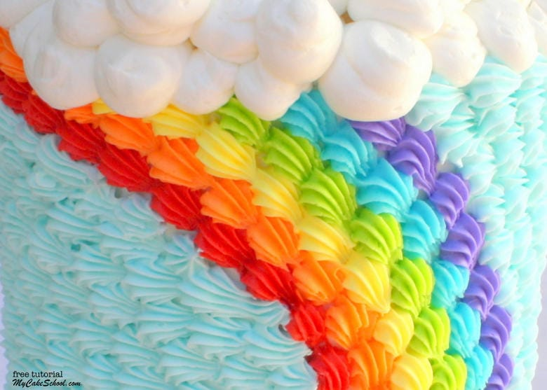 Buttercream Rainbow Cake Tutorial by MyCakeSchool.com! Free cake tutorial!