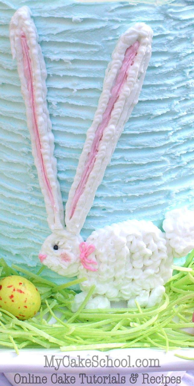 SWEET Buttercream Easter Bunny Cake Decorating Tutorial by MyCakeSchool.com! Online Cake Tutorials & Recipes!