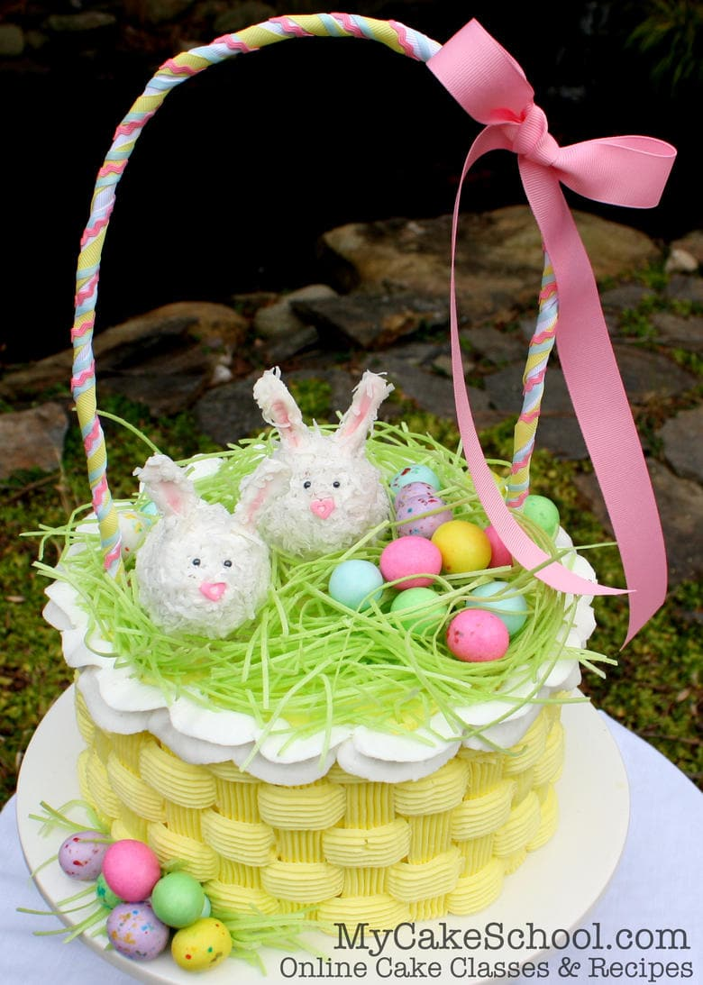easter basket cake video with buttercream basketweave