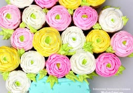 Buttercream Ranunculus Cupcakes! Free video tutorial by MyCakeSchool.com. Online cake tutorials, recipes, videos, and more!