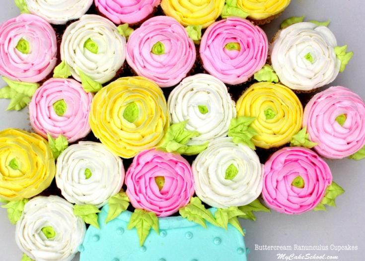 Buttercream Ranunculus Cupcakes~ Cake Decorating Video