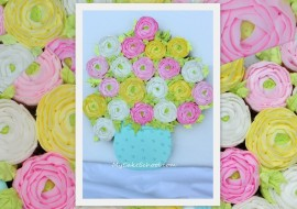 Learn to Pipe Buttercream Ranunculus Flowers in this Pull Apart Cupcake Video Tutorial! - MyCakeSchool.com-Member Video. Online Cake Decorating Classes