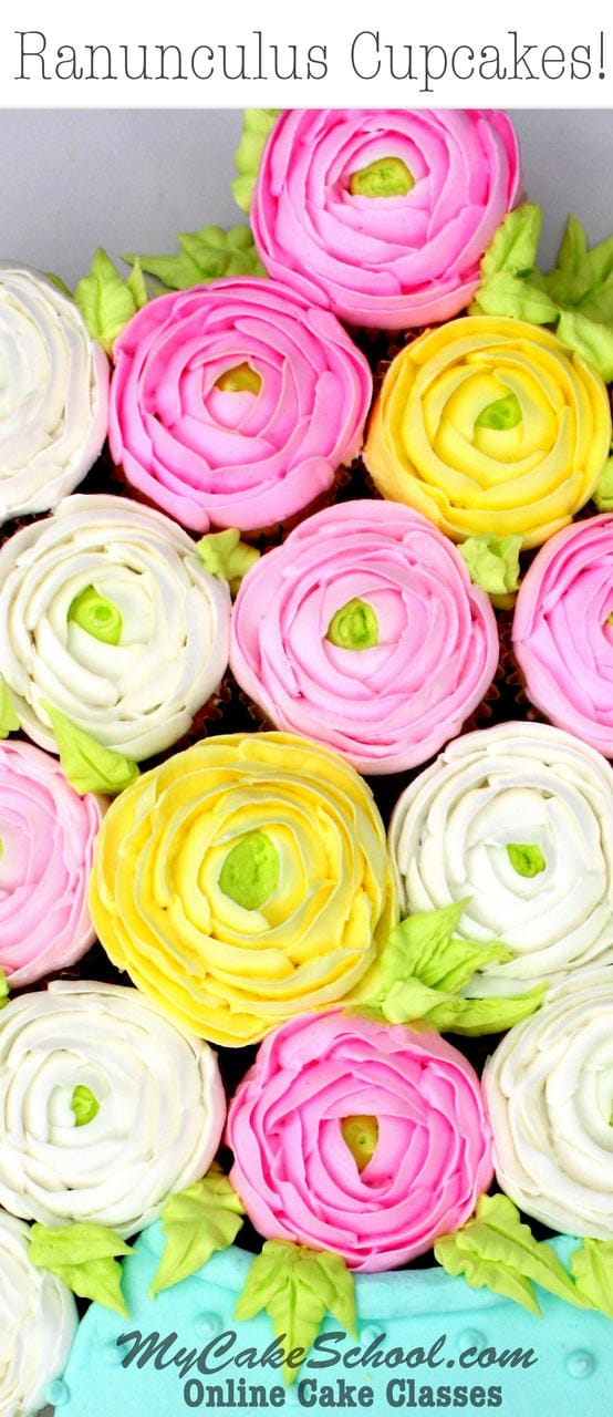 Free Buttercream Ranunculus Cupcakes Video Tutorial by MyCakeSchool.com! Online cake tutorials, recipes, videos, and more!