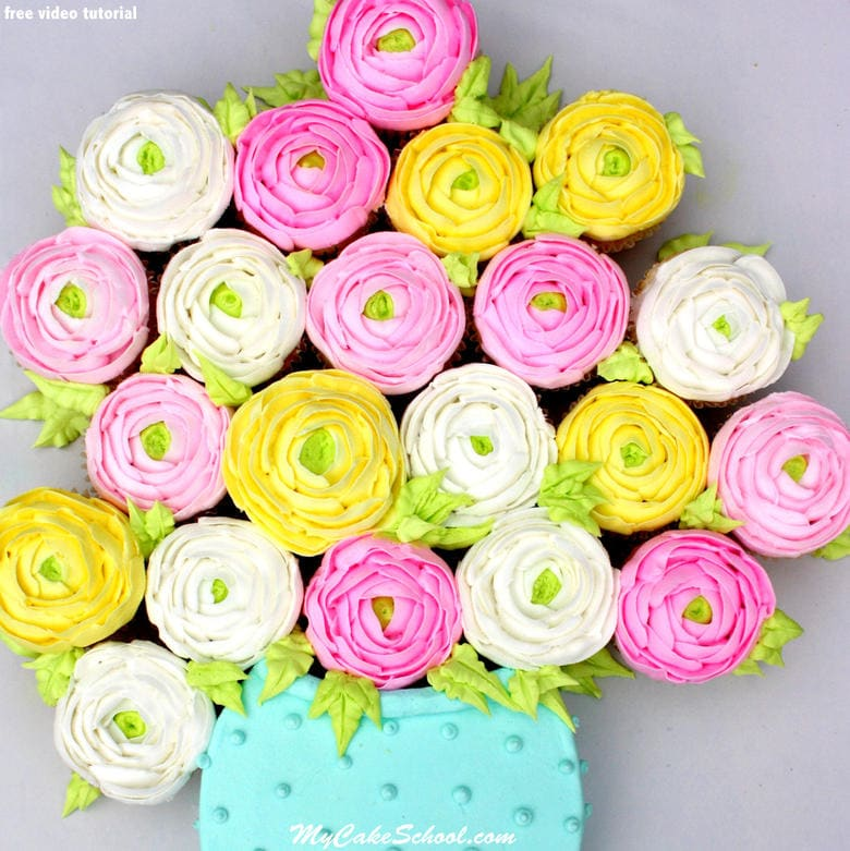 Beautiful buttercream ranunculus cupcakes! Free Buttercream piping cake video tutorial by MyCakeSchool.com! Online cake tutorials, recipes, and more!