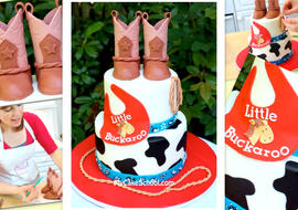 Western themed baby shower cake tutorial with gum paste boots on top! Cute cake decorating tutorial by MyCakeSchool.com!