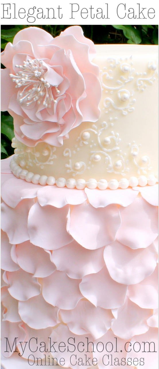 Cake Decorating Petal Tips : Elegant Fondant Petal Cake Tutorial with Ruffled Flower ...