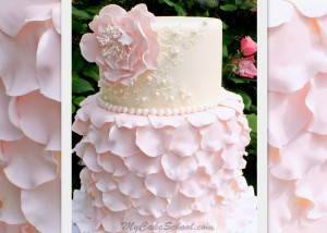 Elegant Fondant Petal Cake with Scrollwork and Flower- A Cake Decorating Video by MyCakeSchool.com.