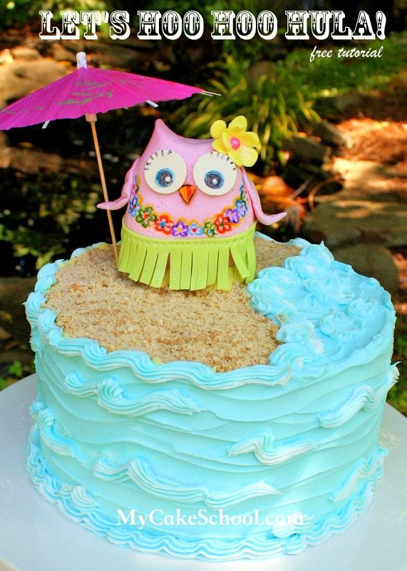 CUTE Hula Owl Cake Topper! Free and simple cake tutorial by MyCakeSchool.com!