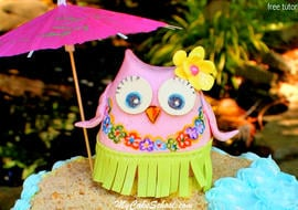 CUTE Hula Owl Cake Topper Tutorial by MyCakeSchool.com! Perfect for beach and pool themed cakes!