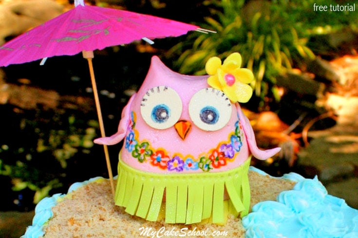 How to Make an Owl Cake Topper- Luau Theme!- Free Tutorial