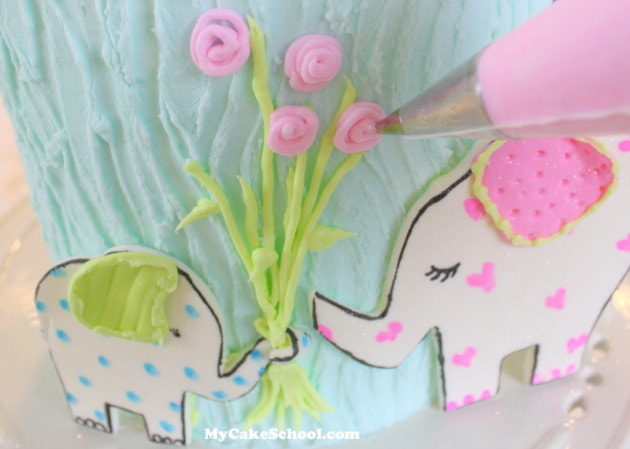 Love You Bunches! Sweet Elephant Cake {free} Tutorial by MyCakeSchool.com! Online Cake Decorating Tutorials & Recipes!