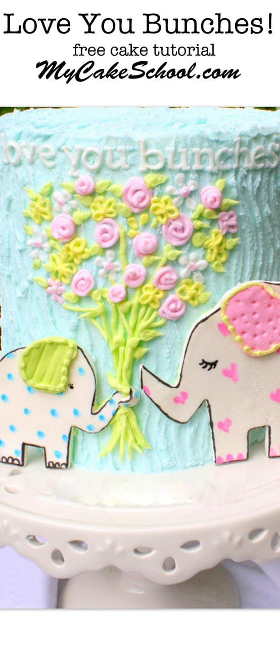 Adorable Elephant Cake Tutorial by MyCakeSchool.com! Free Tutorial, and a perfect design for Mother's Day, Father's Day, Baby Showers, Young Birthdays, and More!