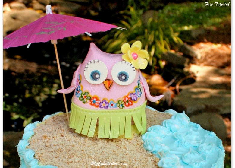 Cute Hula Owl Cake Topper Tutorial! Step-by-Step free tutorial by My Cake School! Perfect for pool parties, and beach or luau themes!