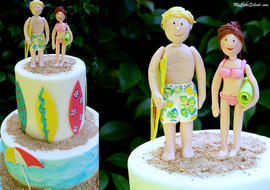Beach Cake with Modeled Gum Paste Beach Couple! Cake decorating video (for members) by MyCakeSchool.com! Online Cake Classes and Recipes!