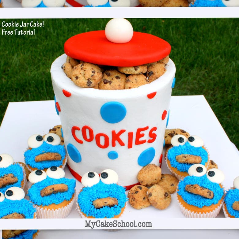 CUTE Buttercream Cookie Jar Cake Tutorial and Cookie Monster Cupcakes! Free step by step cupcake decorating tutorial by MyCakeSchool.com! Online cake tutorials, recipes, videos, and more!