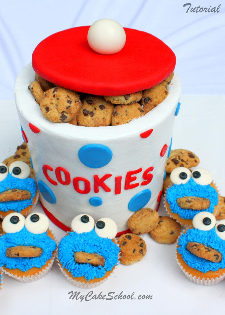 CUTE Buttercream Cookie Jar Cake Tutorial and Cookie Monster Cupcakes! Free step by step cake decorating tutorial by MyCakeSchool.com! Online cake tutorials, recipes, videos, and more!