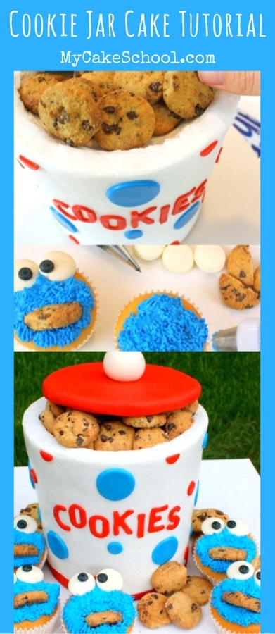 CUTE and easy Cookie Jar Cake and Cookie Monster Cupcakes! Free Tutorial by MyCakeSchool.com!